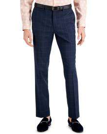 Inc International Concepts Inc Men's Slim-Fit Blue Windowpane Plaid Suit Pants, Created for Macy's