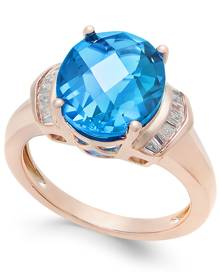 Macy's London Blue Topaz (4-9/10 ct. t.w.) and White Topaz (1/4 ct. t.w.) Ring in 14k Rose Gold-Plated Sterling Silver