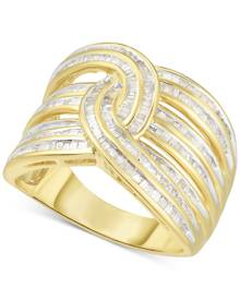 Macy's Diamond Baguette Interwoven Statement Ring (1 ct. t.w.) in Sterling Silver