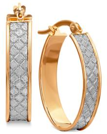 Macy's Textured Glittery Hoop Earrings in 14k Gold, White Gold or Rose Gold, 1 inch