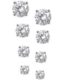 Giani Bernini 4-Pc. Set Cubic Zirconia Stud Earrings in Sterling Silver, Created for Macy's