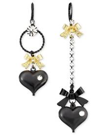 Betsey Johnson Asymmetrical Black Heart Drop Earrings