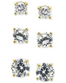 Giani Bernini 3-Pc. Cubic Zirconia Sterling Silver Stud Earrings in 18k Rose Gold-Plated, 18k Gold-Plated and Sterling Silver, C