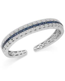 Macy's Sapphire (1-5/8 ct. t.w.) and Diamond (1/10 ct. t.w.) Cuff Bracelet in Sterling Silver