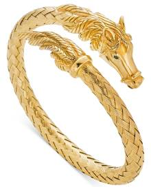 Italian Gold Woven Horse Bangle Bracelet in 14k Gold Vermeil