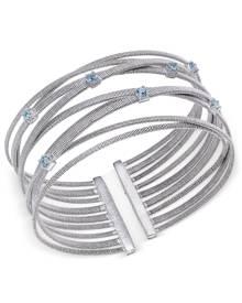 Macy's Swiss Blue Topaz Multi-Row Cuff Bracelet (3/4 ct. t.w.) in Sterling Silver