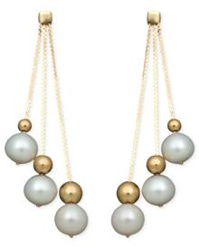 Belle de Mer Pearl Earrings, 14k Cultured Freshwater Pearl Triple Bead Drop (6-7mm)