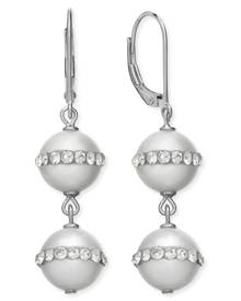 Macy's Sterling Silver Cultured Freshwater Pearl (10mm) and Crystal Halo Earrings