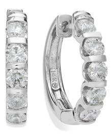 Macy's 14k White Gold Diamond Hoop Earrings (2 ct. t.w.)