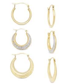 Macy's 3-Pc. Set Small Hoop Earrings in 10k Gold