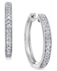Macy's Diamond Hoop Earrings (1/5 ct. t.w.) in 14k White or Yellow Gold