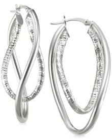 Macy's Smooth and Textured Twisty Hoop Earrings in Sterling Silver