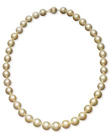 """Macy's Pearl 18"""" Necklace, 14k Gold Cultured Golden South Sea Pearl Graduated Strand (10-12-1/2mm)"""
