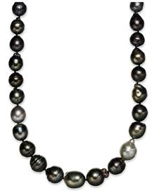Macy's Sterling Silver Necklace, Multi Colored Cultured Tahitian Pearl (9-11mm) Baroque Strand Necklace