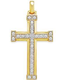 Macy's Men's Diamond Cross Pendant (3/8 ct. t.w.) in 10k Gold