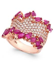 Effy Collection Rosa by Effy Ruby (3-1/4 ct. t.w.) & Diamond (1-3/8 ct. t.w.) Ring in 14k Rose Gold
