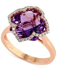 Effy Collection Lavender Rose by Effy Amethyst (5-3/4 ct. t.w.) and Diamond (1/5 ct. t.w.) Clover Ring in 14k Rose Gold