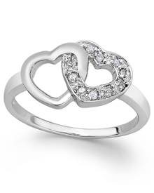 Macy's Diamond Double Heart Ring in Sterling Silver (1/10 ct. t.w.)