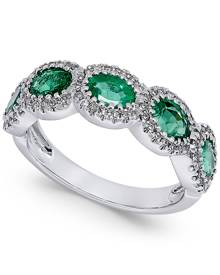 Macy's Emerald (1-1/10 ct. t.w.) and Diamond (1/5 ct. t.w.) Ring in 14k White Gold