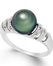 Macy's Tahitian Pearl and Diamond Accent Ring in Sterling Silver (9mm)