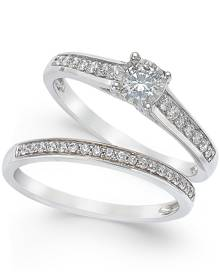 TruMiracle Diamond Engagement Ring and Wedding Band Set (1/2 ct. t.w.) in 14k White Gold