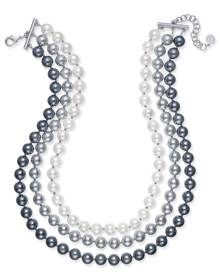 Charter Club Imitation Pearl Ombre Three-Row Collar Necklace, Created for Macy's