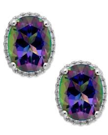 Macy's 14k White Gold Mystic Topaz (4 ct. t.w.) and Diamond (1/6 ct. t.w.) Stud Earrings