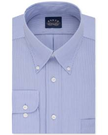 Eagle Men's Big & Tall Classic-Fit Stretch Collar Non-Iron Blue Stripe Dress Shirt