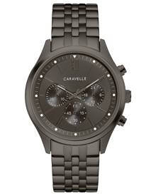 Caravelle Men's Chronograph Gunmetal Stainless Steel Bracelet Watch 41mm