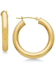Macy's Polished Tube Hoop Earrings in 14k Gold