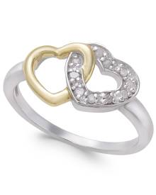 Macy's Diamond Two-Tone Interwined Heart Ring (1/10 ct. t.w) in Sterling Silver and 14k Gold-Plate