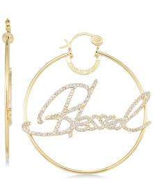 """Sis By Simone I Smith Sis by Simone I. Smith Crystal """"Blessed"""" Hoop Earrings in 14k Gold over Sterling Silver"""