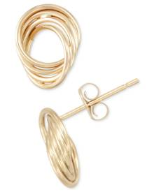 Macy's Polished Love Knot Stud Earrings in 10k Gold