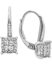 Macy's Diamond Cluster Drop Earrings (1/2 ct. t.w.) in 14k White Gold (Also Available in 14k Rose Gold & 14k Yellow Gold)