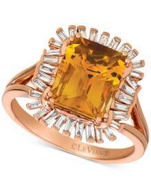 Le Vian Deep Sea Blue Topaz (3-1/3 ct. t.w.) & Diamond (1/3 c.t. t.w.) Ring in 14k Rose Gold