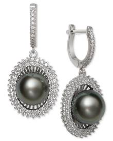 Macy's Black Cultured Tahitian Pearl (10mm) & Cubic Zirconia Drop Earrings in Sterling Silver