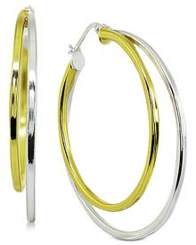 """Giani Bernini Medium Two-Tone Double Hoop Earrings in Sterling Silver & 18k Gold-Plated Sterling Silver, 1.5"""", Created for Macy'"""