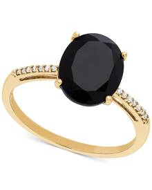 Macy's Onyx (10 x 8mm) & Diamond Accent Ring in 14k Gold