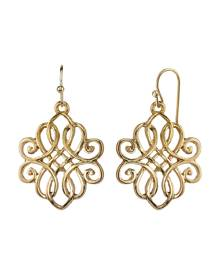 2028 Gold-Tone Filigree Drop Earrings