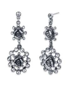 2028 Silver-Tone Crystal Flower Double Drop Earrings