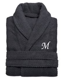 Linum Home 100% Turkish Cotton Personalized Unisex Herringbone Bath Robe - Dark Gray Bedding