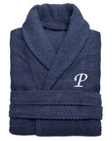 Linum Home 100% Turkish Cotton Personalized Unisex Herringbone Bath Robe - Midnight Blue Bedding