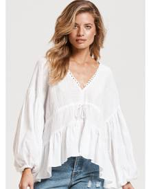 Billow Sleeve Top in White