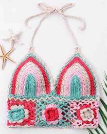 DressLily Color Block Knit Crop Swim Top