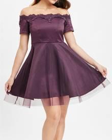 DressLily Lace Trim Off Shoulder Vintage Dress