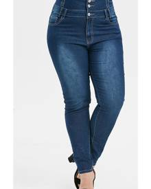 DressLily Plus Size Button Fly Faded Skinny Jeans