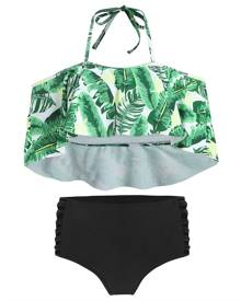 DressLily Halter Tropical Print Cut Out High Waist Bikini Set