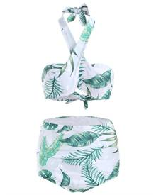 DressLily Tropical Scrunch Butt High Waisted Bikini Set