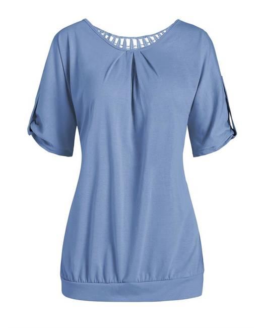 Buy Round Neck Bowknot Keyhole Plain Bell Sleeve Blouse