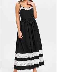 DressLily Lace Trim Spaghetti Strap Maxi Dress